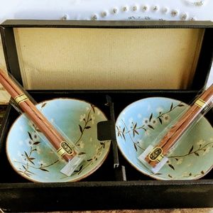 Vintage Japanese Soup Rice Bowls Blue/Green Floral